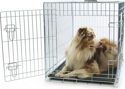 Pregunta sobre jaula de metal para transporte con doble for Puertas perros medianos